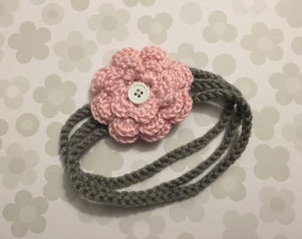 Baby Girl Crochet Baby Headband with 2 Interchangeable Flowers You Pick Colors