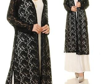 Black Lace Cardigan | Black Lace Duster Vest | Black Bridesmaid Robes | Black Kimono Lace Cardigan | Black Lace Robe | Black Lace Dress 6502