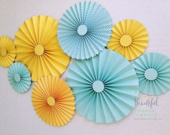 Yellow and Aqua Rosettes| Paper Fans | Gender Neutral Baby Shower | Pinwheel Backdrop Decor | Paper Rosettes | Aqua Baby Shower Decoration