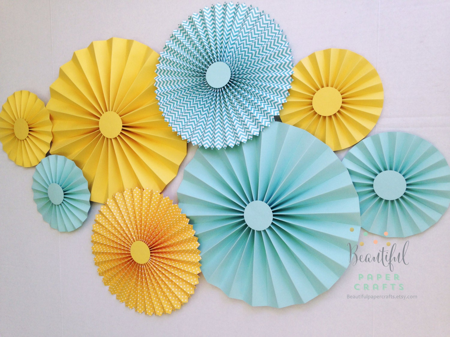 Yellow and Aqua Rosettes Paper Fans Gender Neutral Baby