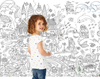 "Giant Poster coloring book for girls ""Mermaids"" wallpaper"
