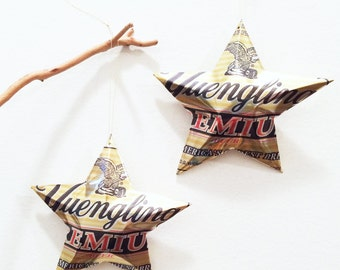 Yuengling Premium Beer Stars Christmas Ornaments Aluminum Can Upcycled