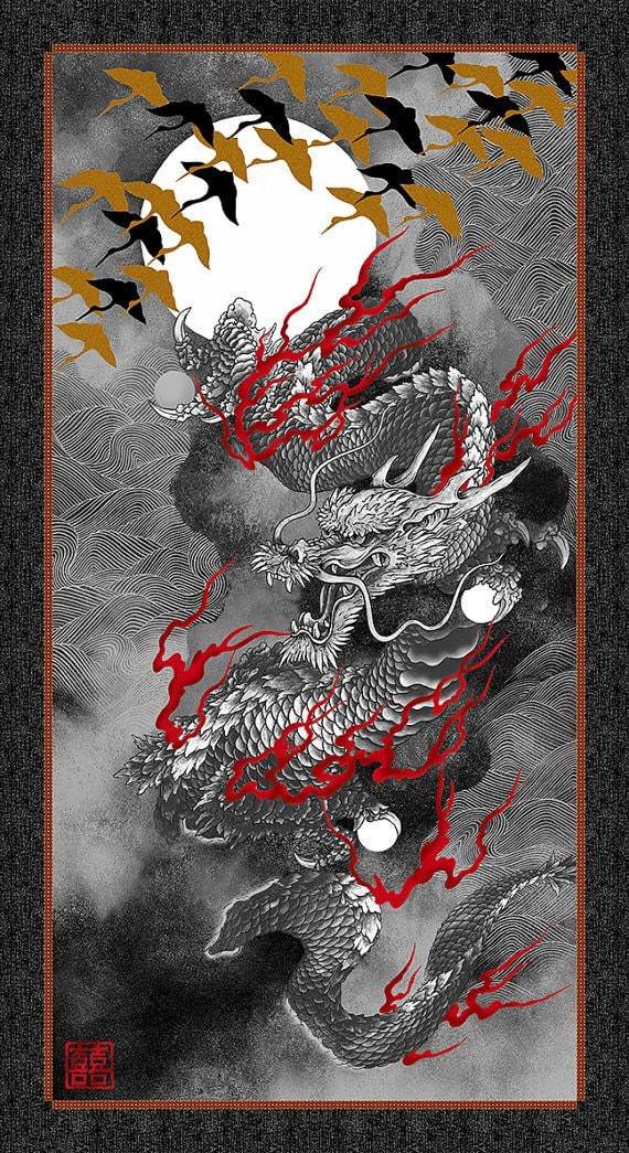 Dark Grey Gold Nobu Fujiyama Dragon Moon Fabric Panel Kona Bay Fabrics