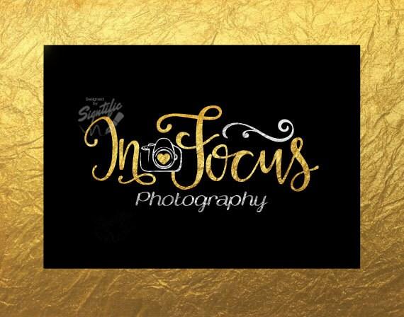 Gold foil Photography Logo, Custom Gold leaf Logo Design, silver Camera Logo, Name Logo, Photographer Name Signature in Gold leaf Lettering