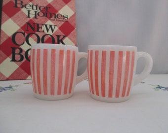 Two Hazel Atlas Candy Stripe Milk Glass Mugs