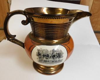 Lusterware Lafayette and Cornwallis pitcher