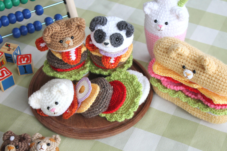 Amigurumi Food : Crochet pattern yummy bear amigurumi bear burgers sandwich and