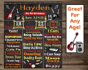 rock and roll birthday party chalkboard, music party, guitar, rock and roll first birthday, second, third, boy 1st birthday, guitar theme