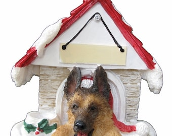 """German Shepherd Christmas Ornament with Magnetic back, personalized with your Dog's Name.Hand Painted with a brush.Measures 3"""" by 3"""""""