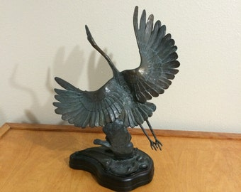 Metal Sculpture Crane Taking Off in Flight - Signed Burn 1985