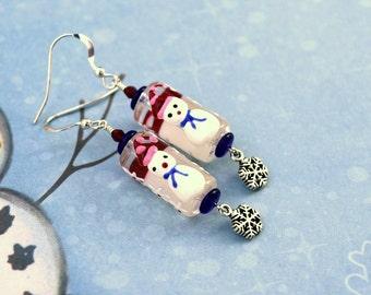 Snowman Earrings, Lampwork Snowman Earrings, Christmas Earrings, Holiday Earrings, Winter Earrings, Snowflake Earrings, Snowman Jewelry