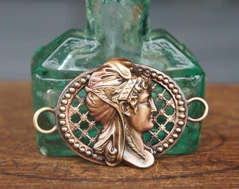 French Brass Stamping Ornate Classical Cameo Ladies Face Bracelet Centrepiece Handmade Supply