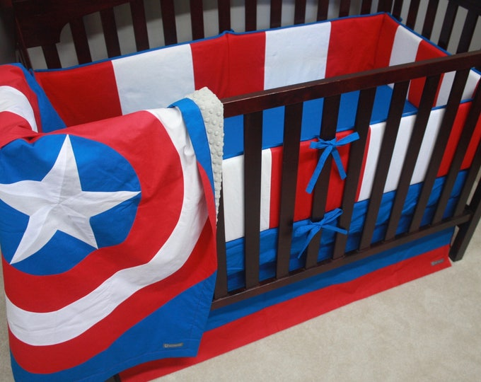 Superhero baby bedding--Captain America--With Bumpers-MTO