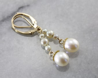 Long White Pearl Drop Earrings for the Bride NAHAYP-D