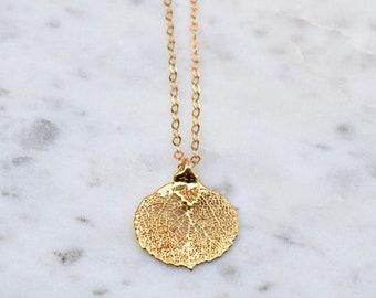 Colorado   Gold Leaf Necklace, Aspen Leaf Necklace, Real Leaf Necklace