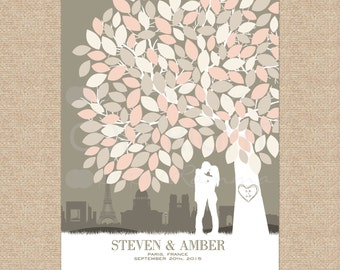 Wedding Guest Book Rustic Wedding Decor, Wedding Sign, Personalize Skyline & Silhouette Canvas /Art Print /100+ Signature // W-T05-1PS HH3