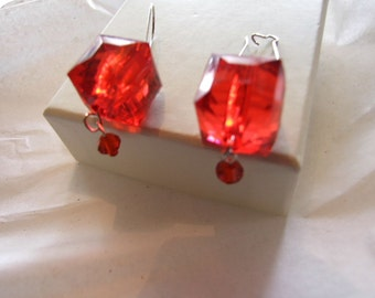 Big  Cube   Red Lucite Earring!!  on sale