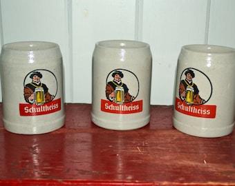 Set of 3 Schultheiss German Stoneware Beer Mugs