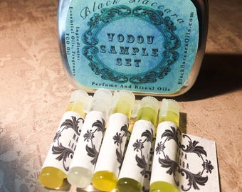 Vodou Perfume Sample Set / Voodoo Ritual Oil / Papa Legba / Erzulie Dantor / Baron Samedi / Marie Laveau / Artisan Perfume Oil / Conjure Oil