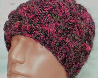Cable knit beanie hat, charcoal gray black red taupe tweed hat, alpaca hat, cable hat, womens mens hat, toque, ski toboggan chemo cap hiking