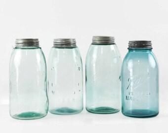 Vintage Blue Mason Jars, Farmhouse Kitchen Decor, Half Gallon Jars, Blue Glass Jars with Zinc Lids, Kitchen Storage Jars, Choice of Four