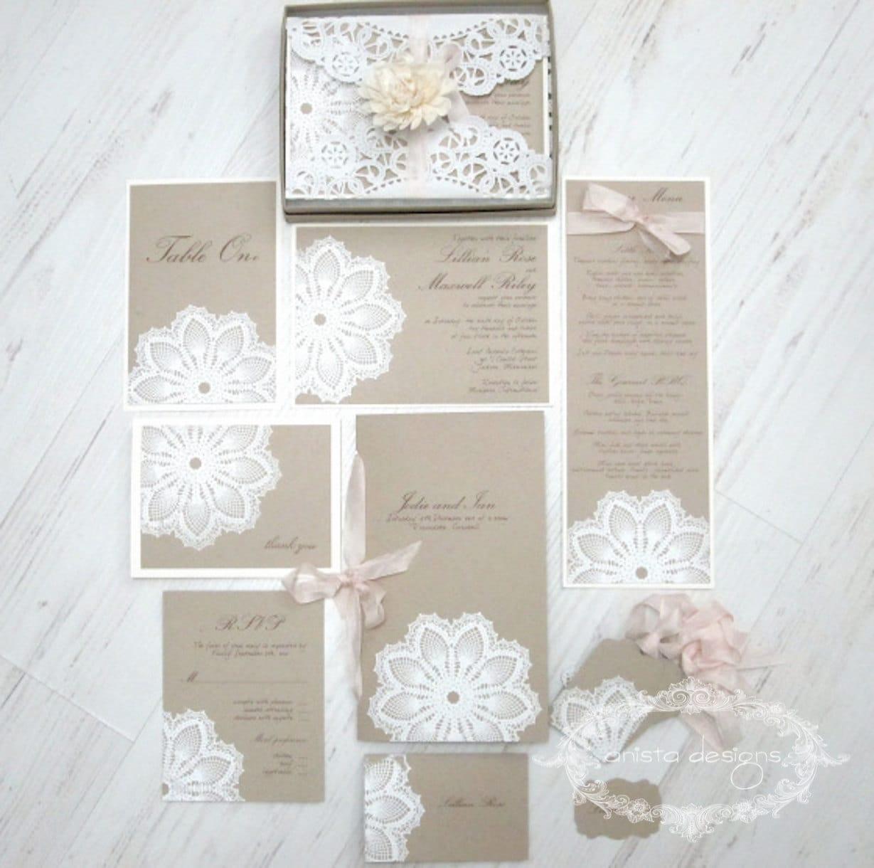 SALE: vintage lace wedding invitation Lace doily featured