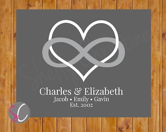 Infinity Symbol with Heart Personalized Wedding Gift Infinity Romantic Love Wall Art Family Wall Art Printable 8x10 Digital JPG File  (55-3)