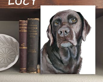 """Chocolate Lab """"Lucy"""" Dog - Print of Original Watercolor and Ink"""