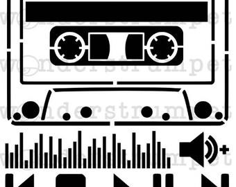 Mix Tape Cassette Stencil