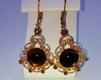 Gold filigree Vintage earrings brown glass filigree earrings