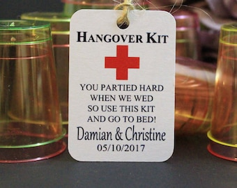 Hangover Kit Tags, Personalised Wedding Hangover Kit Labels,Wedding Favours,Vintage Luggage Style brown/White card,Supplied with twine,TGS51