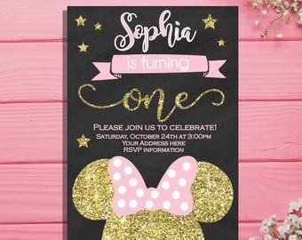Minnie Mouse Birthday Invitation - Pink and Gold girls first birthday invitation - Chalkboard invites - minnie mouse birthday party