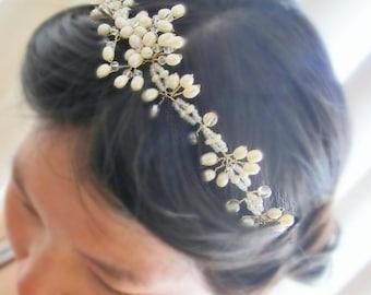 White Buds of Spring - Freshwater Pearl Ivory Flower Bridal Hair Vine Tiara