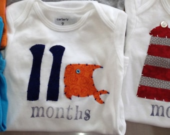 Nautical Month-by-Month Onesies (10-12 months)