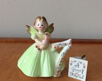Green Josef Original Birthday Angel Figurine - Birthday Girl with Wings - Seven - Seventh - 7