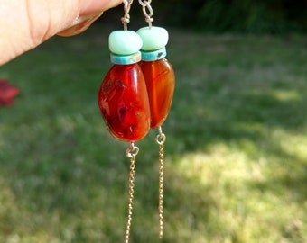 Turquoise and Agate Drops