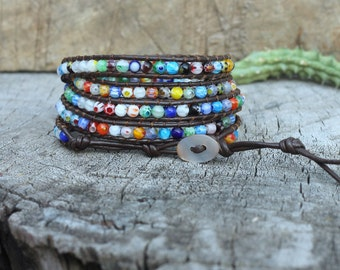 Millefiori Flower Glass Bead Wrap Bracelet On Dark Brown Leather