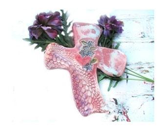 Pink cross - cross decor - Valentine cross - ceramic cross - Christian gift, clay cross, # 9