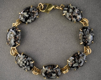 BLACK multi color German glass & brass link BRACELET 7 1/2""