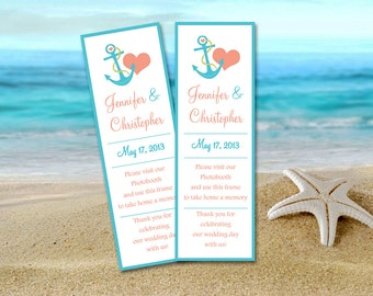 """Photo Booth Insert Place Card Template - Beach Wedding Favor """"Anchor Love"""" Photobooth Escort Card - DIY Wedding Download - Coral Turquoise"""
