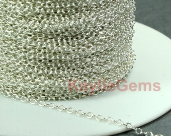 1.8x2.4mm Silver Plated Fine Delicacy Soldered Strong Brass Oval Cross Link Chain - 12ft