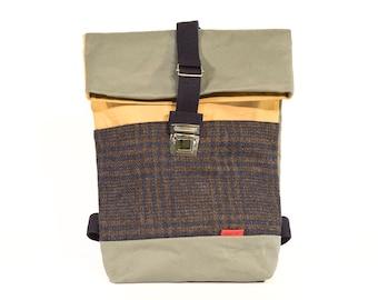 Mustard Small Backpack/Upcycling bagpack PA08