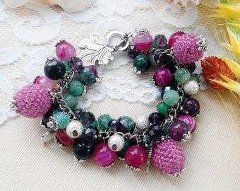 Woman beaded bracelet Beaded earrings Colorful earrings Colorful bracelet Colorful jewelry set Gems set Aventurine earrings Tourmaline set