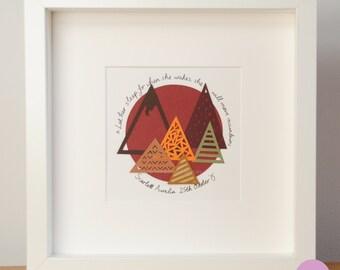 New baby custom gift – mountain art – papercut gift – mountain range – paper art –personalised – geometric art –Let her sleep –Fall art