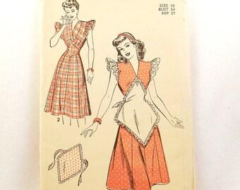 Vintage Advance 4696 1940s Apron Dress Pattern, Uncut, Size 16, Bust 34