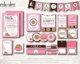 Milk and Cookies Birthday, Cookie Invitation, Milk and Cookies Invite, Birthday Banner, Cookie Party Decor, Girls Birthday, #54