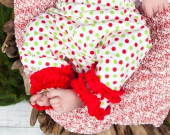 Baby Christmas Leggings - Polka Dots - Christmas Leggings - Ruffle Pants