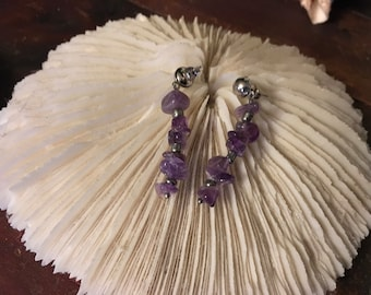 T5R3B1 Amethyst chip handcrafted, one of a kind earrings by Nice N Nautical