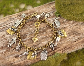 Wine Vineyard Love Grape Leaf Charm Bracelet