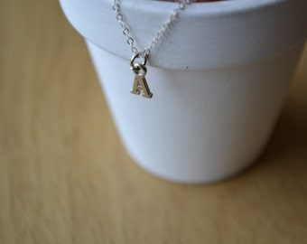 Silver Letter Necklace, Initial Necklace, Personalized Letter Necklace, Personalized Jewelry, Simple Necklace, Handmade Necklace, A Necklace